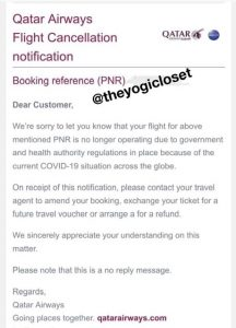 Airline Cancellation Confirmation