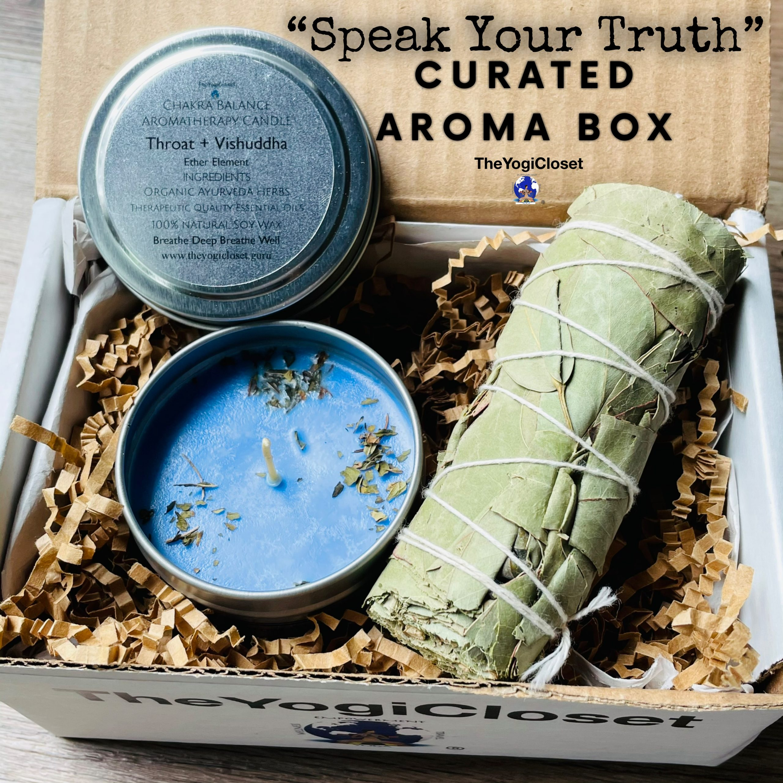 Eucalyptus Smudge and Mint Soy Candle Curated Box   Chakra   Aromatherapy